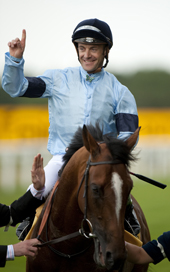 Harbinger with Olivier Peslier after winning the King George VI and Queen Elizabeth Stakes Ascot 24.07.2010