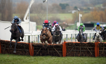 Menorah (left) jumps the final flight and beats Bothy (2nd left) in the Greatwood Hurdle Cheltenham Open Meeting 14.11.2010