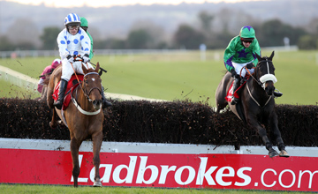 Jack The Bus (Left) and Alain Crowe win the ladbrokes.com Troytown Handicap Chase from Glenquest (Right) Navan 21.11.2010