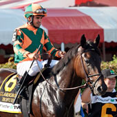 Biofuel (Stormin Fever) and Eurico Rosa Da Silva go to post for the Coaching Club American Oaks at Saratoga Racecourse 24/7/10