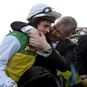 Donald McCain and Jason Maguireafter winning the Grand National Aintree 9.04.2011