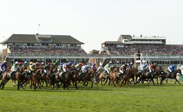 Ballabriggs (Jason Maguire,2nd left) at the start before winning the Grand National Aintree 09.04.2011