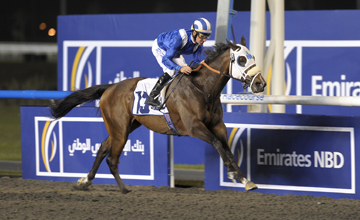 Barbecue Eddie wins the Business Banking, Sponsored by Emirates NBD at the seventh 2011 Dubai International Racing Carnival meeting at Meydan Racecourse on 18.02.2011