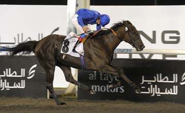 Bay Willow wins the Jaguar XK Trophy, Sponsored by Al Tayer Motors at the eighth 2011 Dubai International Racing Carnival meeting at Meydan Racecourse 24.02.2011