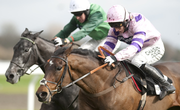 Zarkandar (Daryl Jacob) runs on from the last and wins the juvenile hurdle from Molotof Kempton 26.02.2011