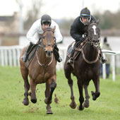 Imperial Commander (Paddy Brennan,left) works with Sybarite (Sam Twiston-Davies