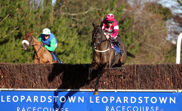 Magnanmity jumps the second last with Jessies Dream during the Tote Pick Six Killiney Novice Chase Leopardstown 09.01.2011
