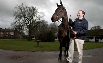 Nicky Henderson and King George VI Chase winner Long Run at Seven Barrows in Lambourn 16.01.2011