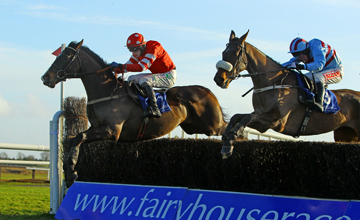Golden Silver (Farside) and Paul Townend win the Tote Pick Six Normans Grove Chase from Rubi Light (Nearside) Fairyhouse 16.01.2011