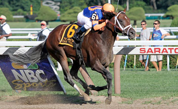 Stay Thirsty (Bernardini) and jockey Javier Castellano win the Gr. II Jim Dandy at Saratoga 7/30/11