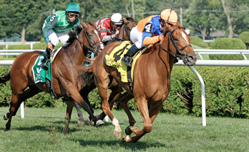 Zagora (FR) (Green Tune) and jockey Javier Castellano win the Gr. I Diana at Saratoga 7/30/11.