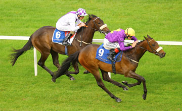 Yellow Rosebud and Pat Smullen catch the Kevin Manning ridden Rigoletta to win the Irish Stallion Farms EBF Fillies Maiden Leopardstown