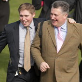 Dan Skelton (left) and Paul Nicholls after the Supreme Novices hurdle Cheltenham festival 15.03.2011