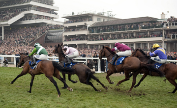 The winner First Lieutenant (2nd right) runs on from the final flight with Rock on Ruby (left) Oscars Well (2nd left) and So Young to win the 2m 5f novices hurdle Cheltenham 16.03.2011