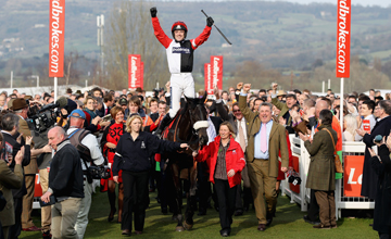 Ruby Walsh celebrates after winning the Ladbrokes World Hurdle on Big Buck's at Cheltenham Racecourse on March 17.03.2011