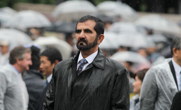 Sheikh Mohammed amid Tokyo umbrellas on Japanese Derby day May 2011