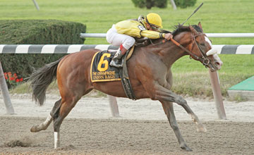Union Rags and jockey Javier Castellano win the Gr I Champagne at Belmont Park 10/8/11