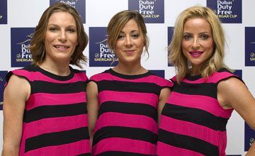 (L-R), jockeys Emma-Jayne Wilson (Canada), Hayley Turner (Great Britain) and Chantal Sutherland (Canada) during the Dubai Duty Free Shergar Cup Photocall at The Dorchester Hotel on August 09, 2012 in London, England.