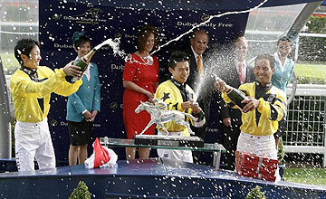 Yutaka Take, Matt Chadwick and Aaron Gryder - Rest of the world - Shergar Cup - Ascot 2012