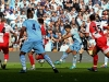 Sergio Aguero of Manchester City scores his team&#039;s third and matchwinning goal during the Barclays Premier League match between Manchester City and Queens Park Rangers at the Etihad Stadium on May 13 2012 in Manchester England Photo by Alex Live