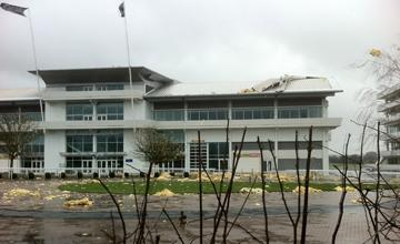 Epsom Stands roof damage 03.01.2012