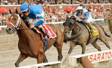 Alpha (Bernardini), Ramon Dominguez up,wins THe Jim Dandy at Saratoga on 7.28.2012 Kiaran McLaughlin trainer. Godolphin Racing LLC owner