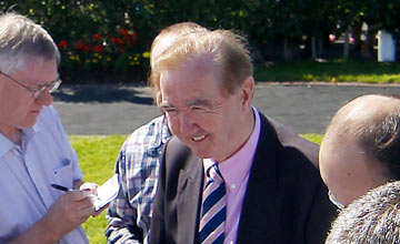 Dermot Weld speaks to the press after Train Of Thought won the radissonhotelgalway.com & galwaybayhotel.com Novice Hurdle Galway Festival Photo: Patrick McCann 30.07.2012