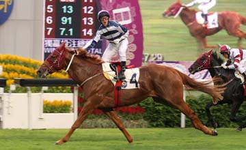 Packing Whiz (Brett Prebble) picks up the Sa Sa Ladies' Purse at Sha Tin 14/10/2012