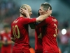 Bayern Munich's Arjen Robben left and Bastian Schweinsteiger celebrate