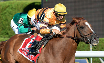 Wise Dan, John Velazquez up, wins the Grade 2 Fourstardave Handicap on Saturday at Saratoga Race Course. trained by Charles LoPresti for owner-breeder Morton Fink.