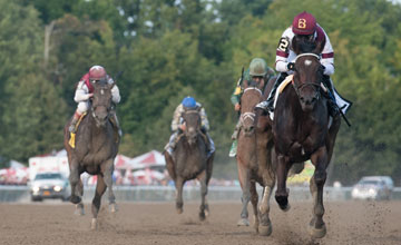 Royal Delta (Empire Maker) Mike Smith up, wins The Personal Ensign at Saratoga Race Course on 8.25.13