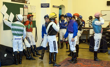 Jockeys in the weighing room