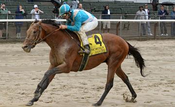Calidoscopio and jockey Aaron Gryder win the Brooklyn Handicap at Belmont Racetrack 6/7/13