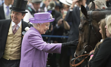 The Queen greets Estimate after winning the Gold Cup