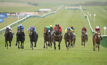 Garswood (centre,red) wins the European Free Handicap Newmarket 17.4.13