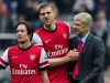 Arsene Wenger celebrates with Tomas Rosicky left and Per Mertesacker