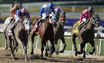 Jockey Martin Garcia (R) rides atop New Year's Day enroute to winning the Juvenile during the 2013 Breeders' Cup World Championships at Santa Anita Park on November 2, 2013