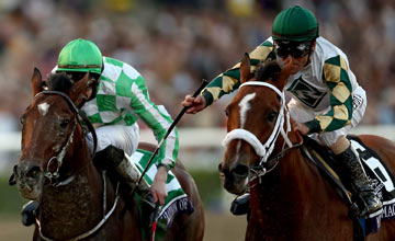 Mucho Macho Man (right) crosses the finish line ahead of Declaration of War, riden by Joseph O'Brien to win the Breeders' Cup Classic during the 2013 Breeders' Cup World Championshipson November 2, 2013
