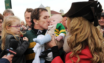 Tony McCoy celebrates with his family