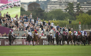 Treve (Thierry Jarnet) kicks for home and wins the Prix de l'Arc de Triomphe Longchamp 6.10.13