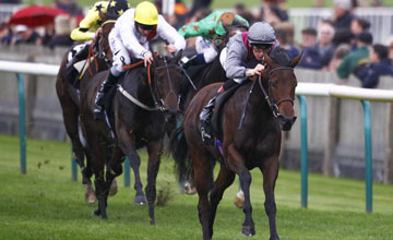Martin Harley riding Al Thakhira wins The vision.ae Rockfel Stakes at Newmarket