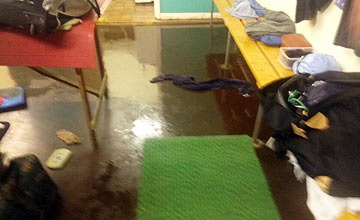 Bath racecourse drainage problems in jockeys' changing room