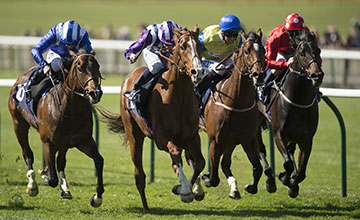 The winner Shifting Power (2nd left) beats Mushir (L) in the European Free Handicap