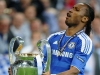 Didier Drogba lifts the Champions League trophy after Chelsea's victory