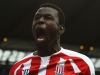 MANCHESTER ENGLAND AUGUST 30 Mame Biram Diouf of Stoke City celebrates scoring the opening goal during the Barclays Premier League match between Manchester City and Stoke City at Etihad Stadium on August 30 2014 in Manchester England Photo by Sh
