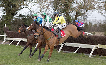 Foxrock and Danny Mullins ljump the first before winning the Ten Up Novice Chase (Grade 2) Navan Photo: Patrick McCann