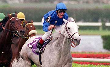 White lightning: Daylami surges to victory in the Breeders' Cup Turf