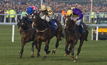 Thrilling finish: Lord Windermere (right) holds on by a short-head from On His Own (centre)