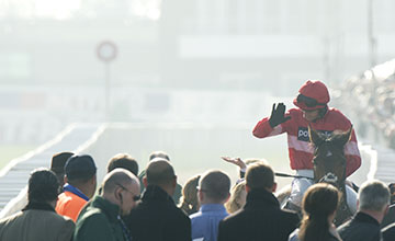 The winner Lac Fontana (Daryl Jacob) after winning the Vincent O'Brien County Hurdle