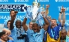 incent Kompany of Manchester City lifts the Premier League trophy